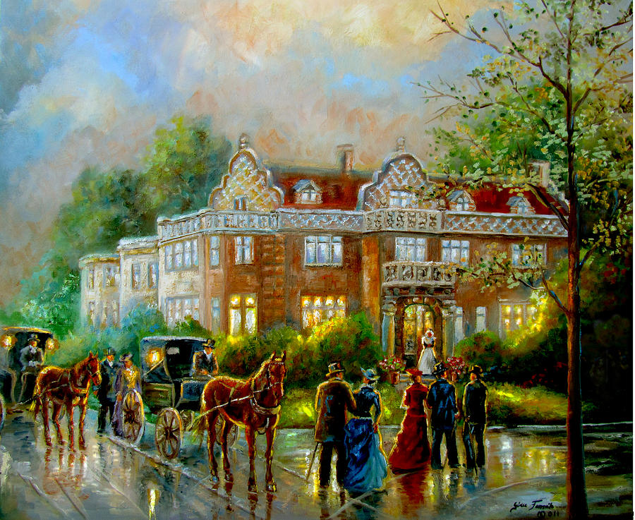 Historical Architecture Indiana Baker House Mansion  Painting  - Historical Architecture Indiana Baker House Mansion  Fine Art Print