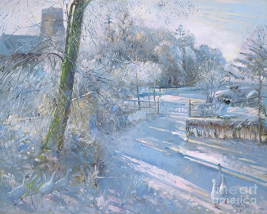Snow; Geese; Goose; Lane; Gate; Gaggle Painting - Hoar Frost Morning by Timothy  Easton