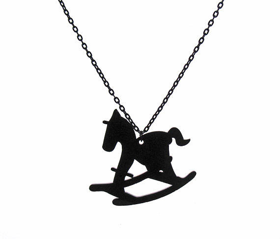 Hobby Horse Pendant With Long Chain Jewelry