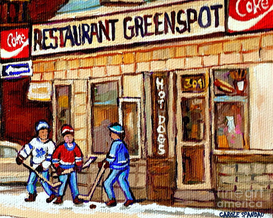 Hockey And Hotdogs At The Greenspot Diner Montreal Hockey Art Paintings Winter City Scenes Painting  - Hockey And Hotdogs At The Greenspot Diner Montreal Hockey Art Paintings Winter City Scenes Fine Art Print
