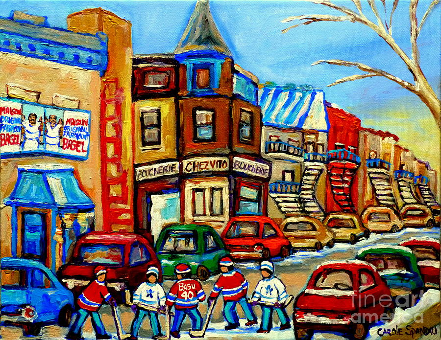 Hockey Art Montreal Winter Street Scene Painting Chez Vito Boucherie And Fairmount Bagel Painting  - Hockey Art Montreal Winter Street Scene Painting Chez Vito Boucherie And Fairmount Bagel Fine Art Print