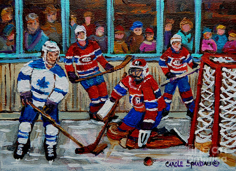 Hockey Art Vintage Game Montreal Forum Painting  - Hockey Art Vintage Game Montreal Forum Fine Art Print