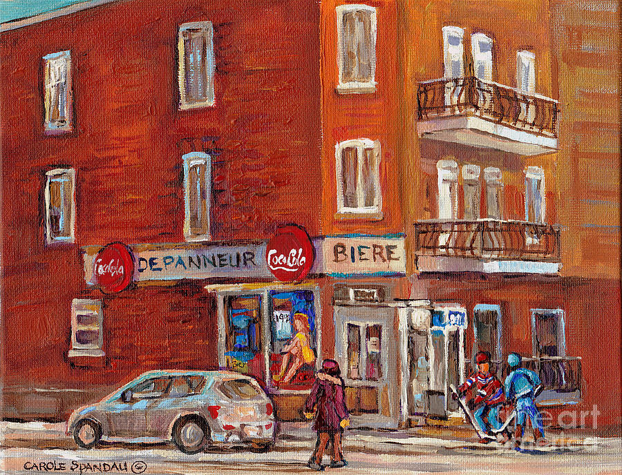 Hockey Game At Corner Store-montreal Depanneur-city Scene Painting-carole Spandau Painting  - Hockey Game At Corner Store-montreal Depanneur-city Scene Painting-carole Spandau Fine Art Print