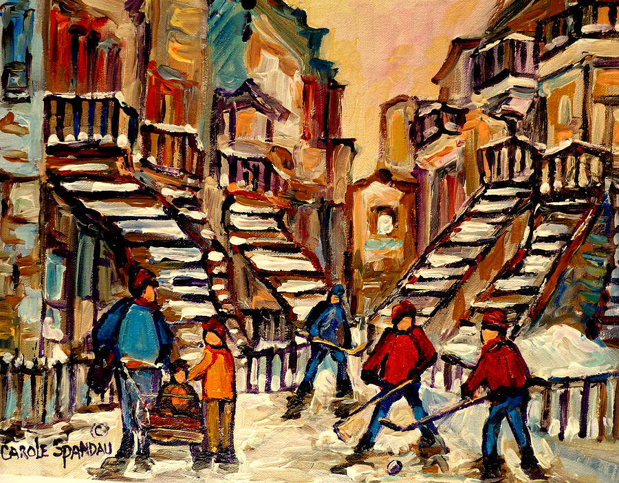 Hockey Game Near Winding Staircases Montreal Streetscene Painting  - Hockey Game Near Winding Staircases Montreal Streetscene Fine Art Print