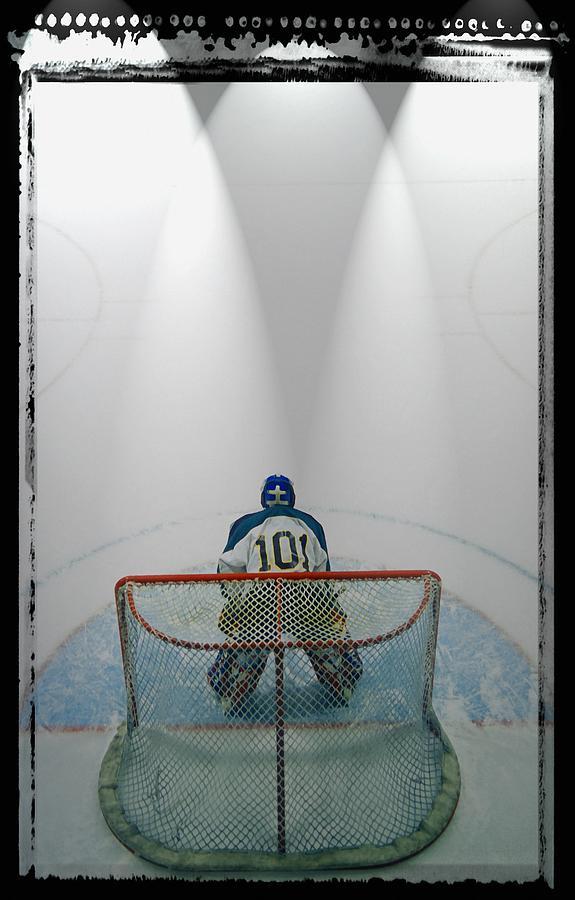 Hockey Goalie In Crease Photograph