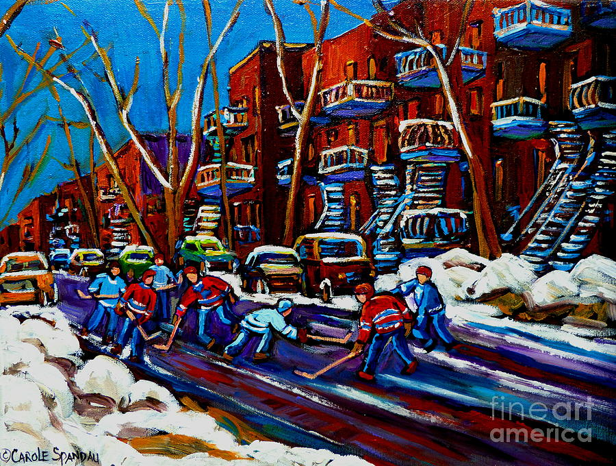 Hockey On De Bullion Montreal Painting