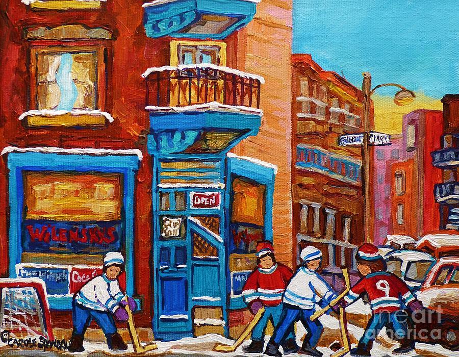 Hockey Stars At Wilenskys Diner Street Hockey Game Paintings Of Montreal Winter  Carole Spandau Painting