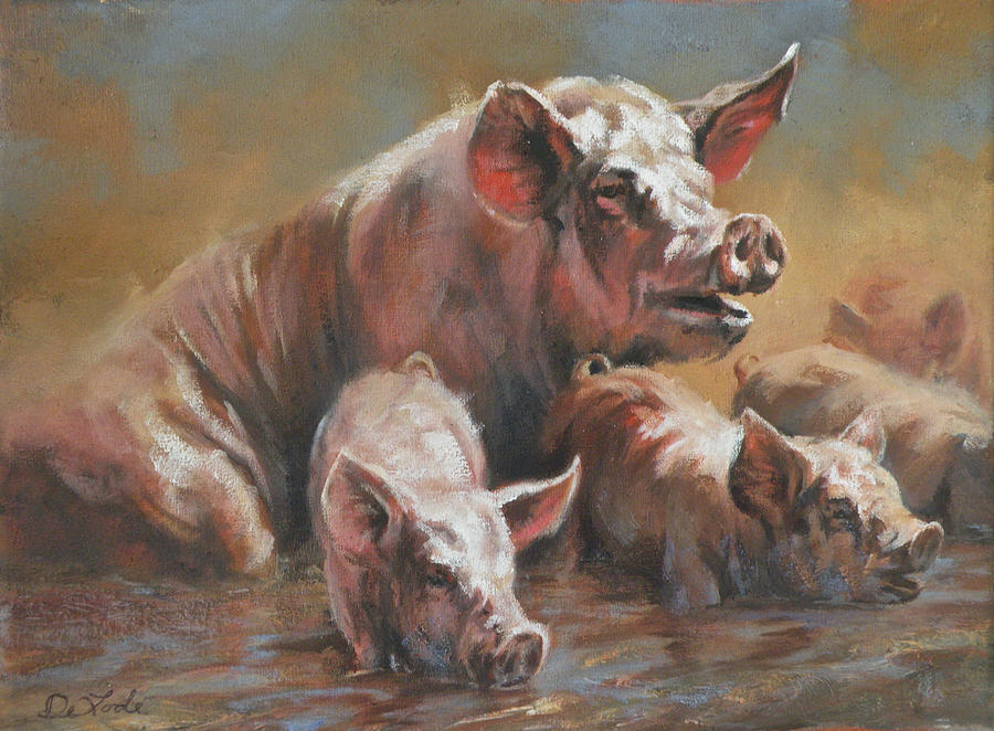 Hog Heaven Painting  - Hog Heaven Fine Art Print