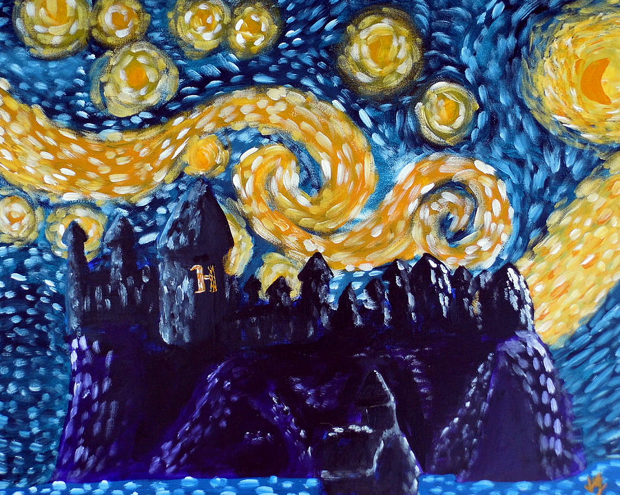 Hogwarts Starry Night Painting  - Hogwarts Starry Night Fine Art Print