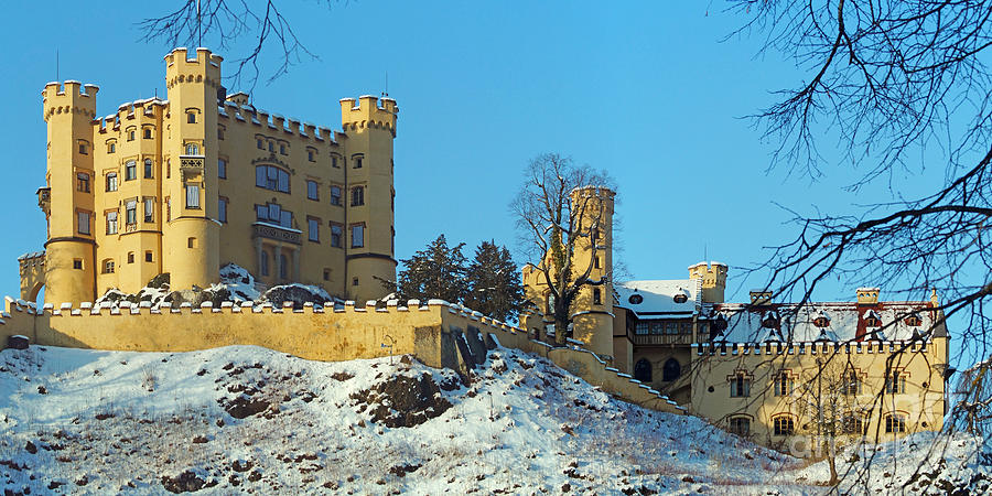 Hohenschwangau Castle Panorama In Winter Photograph  - Hohenschwangau Castle Panorama In Winter Fine Art Print
