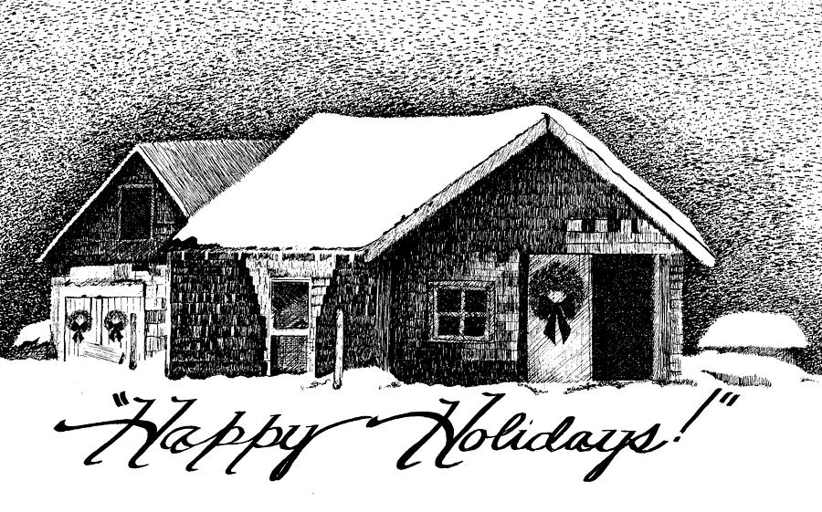 Holiday Barn Drawing  - Holiday Barn Fine Art Print