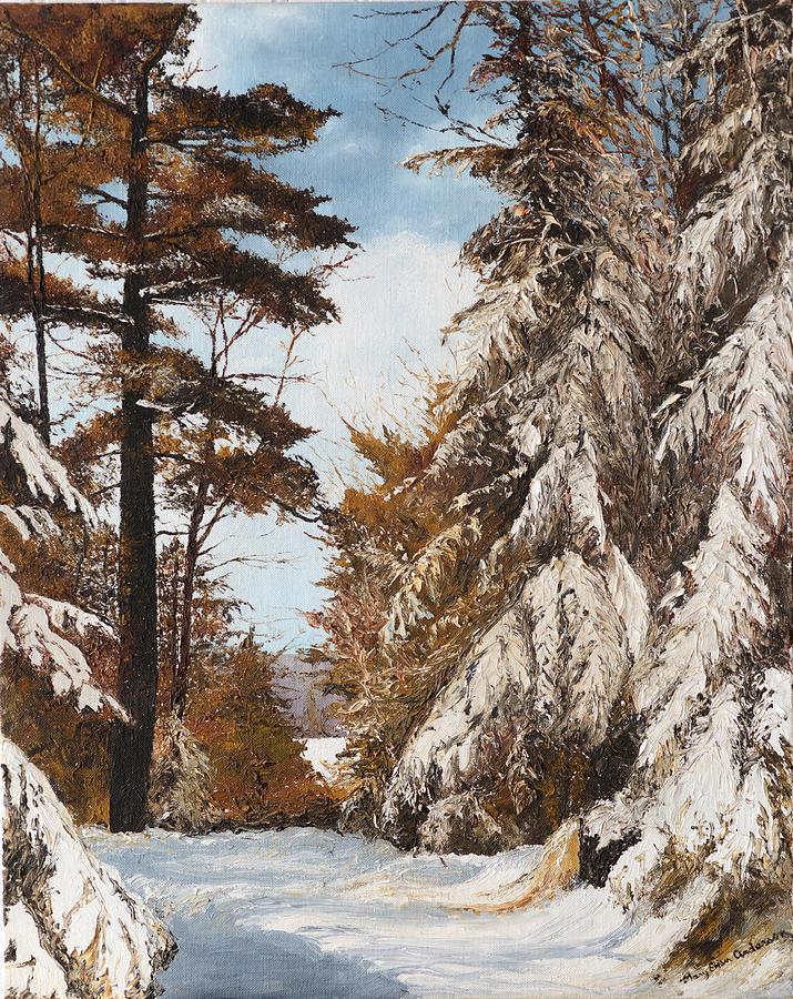 Holland Lake Lodge Road - Montana Painting