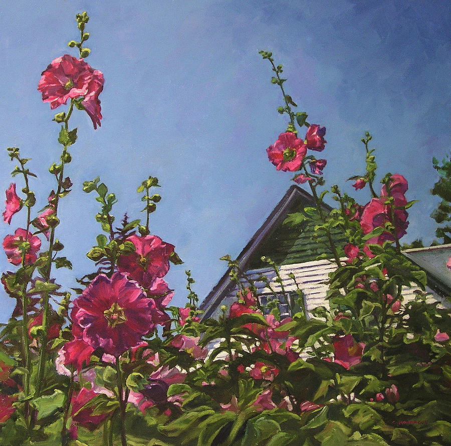 Hollyhocks At Green Gables Painting