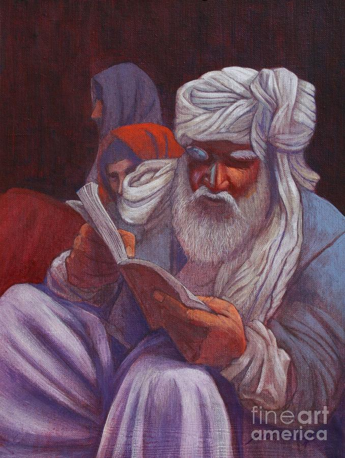 Mideast Holy Man Reading Ancient Wisdom And Wearing Turban Painting - Holy Man by J W Kelly