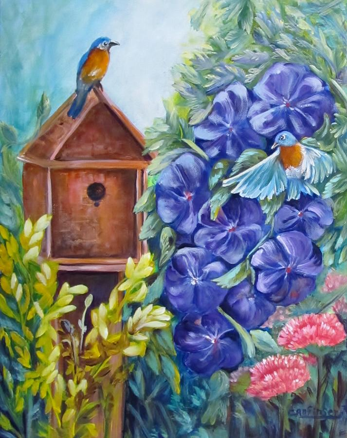 Bluebirds Painting - Home At Last by Carol Allen Anfinsen