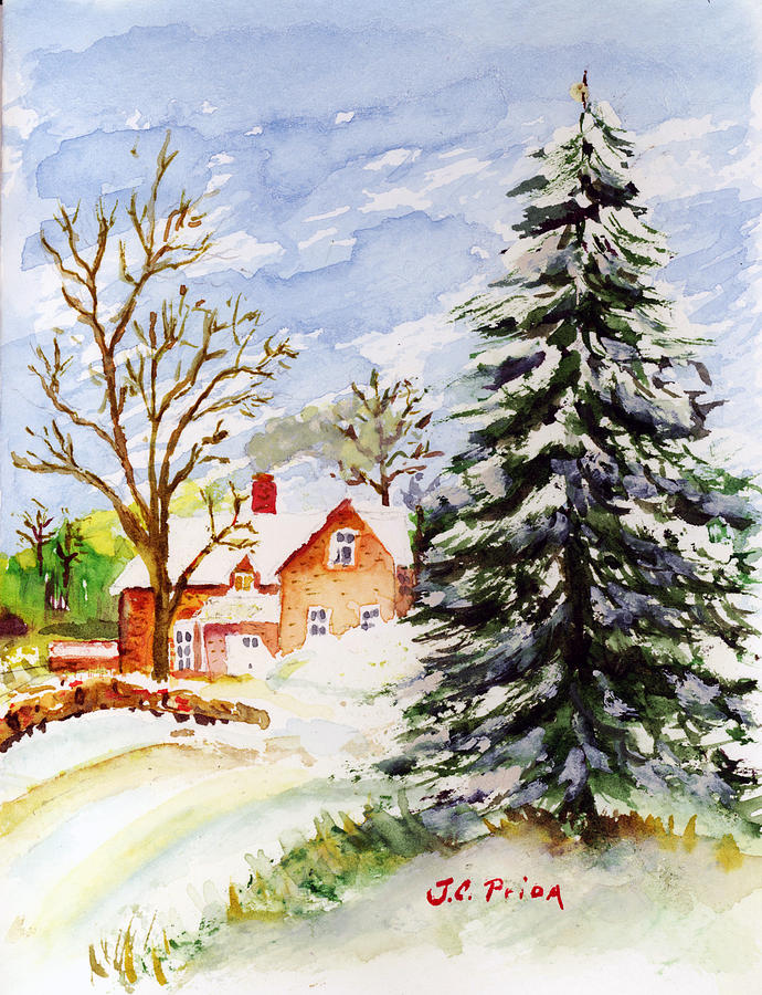 Jc prida art gt paintings gt home for christmas watercolor snow house
