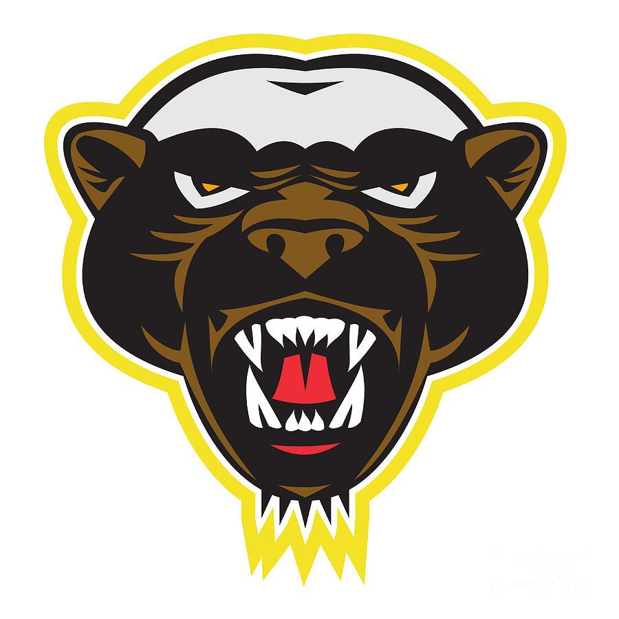 Honey Badger Art Honey badger mascot head