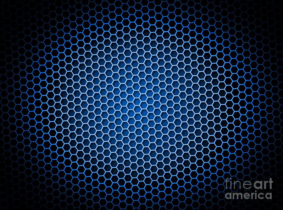 Honeycomb Background Blue Digital Art By Henrik Lehnerer