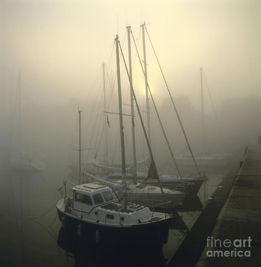 Honfleur Harbour In Fog. Calvados. Normandy Photograph