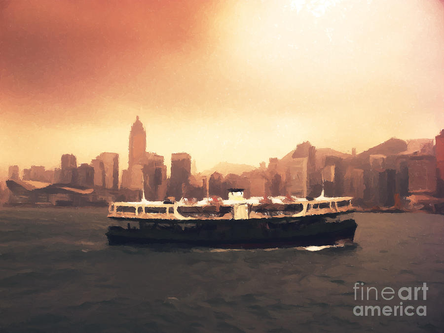 Hong Kong Harbour 01 Painting  - Hong Kong Harbour 01 Fine Art Print
