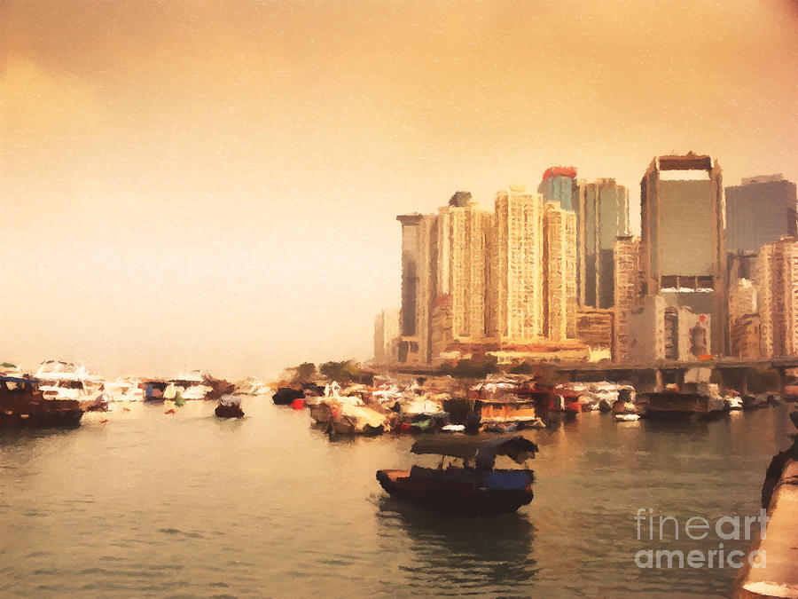 Hong Kong Harbour 02 Painting  - Hong Kong Harbour 02 Fine Art Print