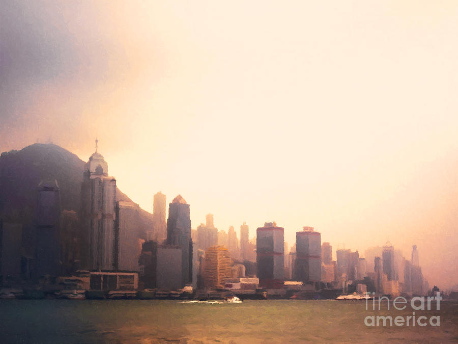 Hong Kong Harbour Sunset Painting