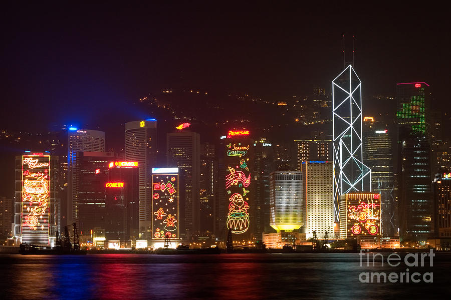Hong Kong Holiday Skyline Photograph  - Hong Kong Holiday Skyline Fine Art Print