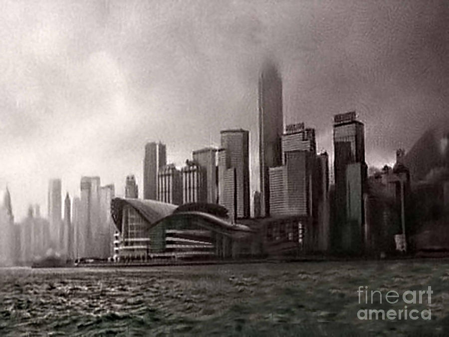 Black And White Photograph - Hong Kong Rain 5 by Tom Prendergast