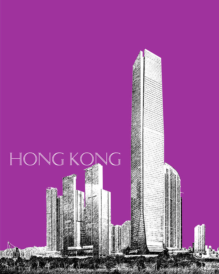 Architecture Digital Art - Hong Kong Skyline 2 - Plum by DB Artist