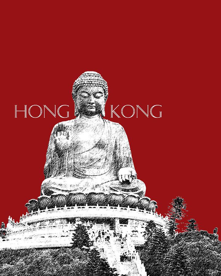 Architecture Digital Art - Hong Kong Skyline Tian Tan Buddha - Dark Red by DB Artist
