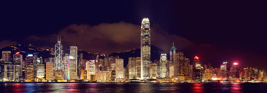 Hongkong Night Skylines Panorama  Photograph  - Hongkong Night Skylines Panorama  Fine Art Print