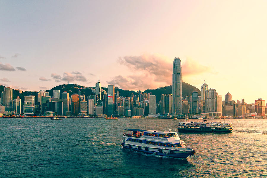 Hongkong Skyline On Clear Day Photograph