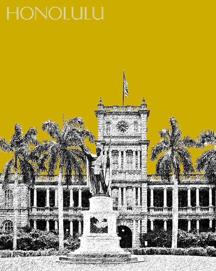 Honolulu Skyline King Kamehameha - Gold Digital Art