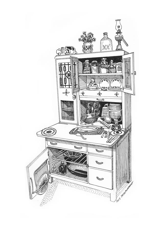 A Hoosier Cabinet (also Known As A hoosier) Is A Type Of Cupboard Popular In 1910- 1930s Drawing - Hoosier Kitchen by Jack Pumphrey