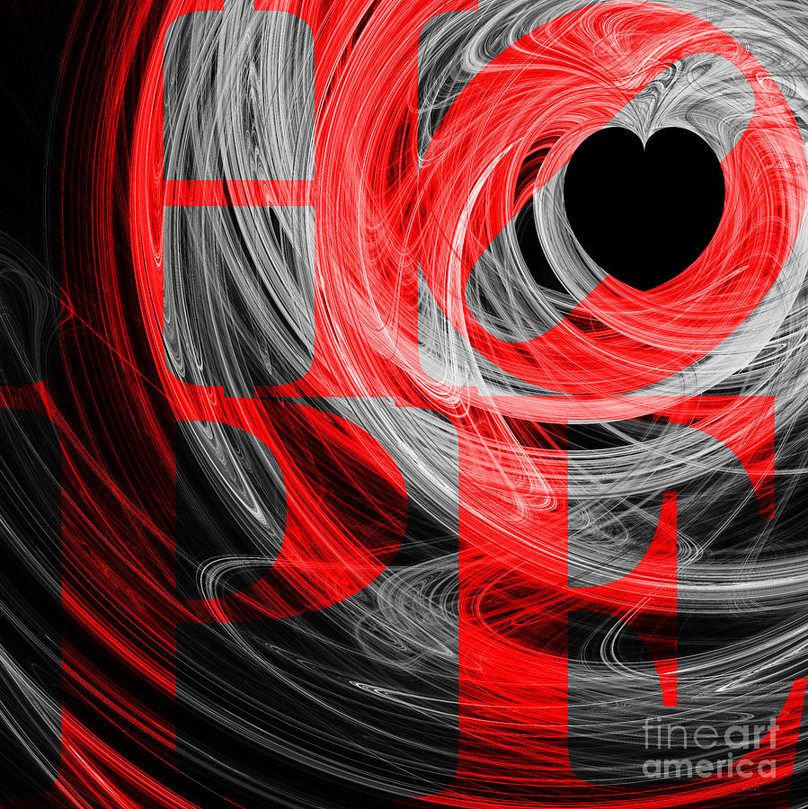 Hope Fractal Heart 20130710 V2b Digital Art