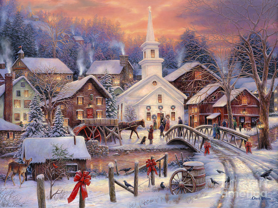 old fashioned christmas town wallpaper - photo #26