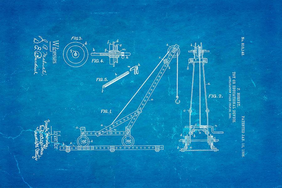 Construction Photograph - Hornby Meccano Patent Art 1906 Blueprint by Ian Monk