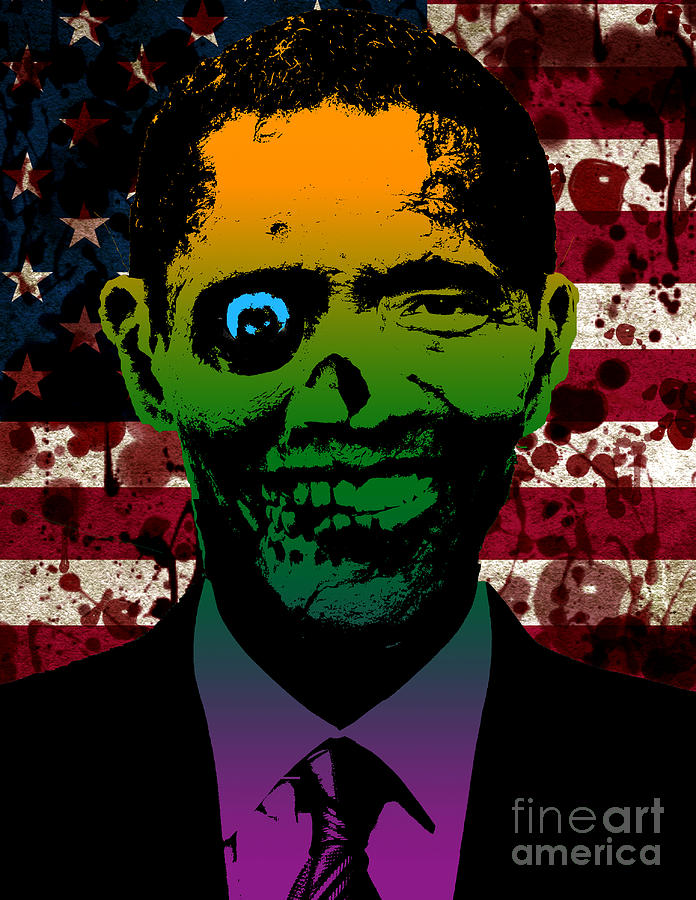 Horrific Zombie Obama Painting