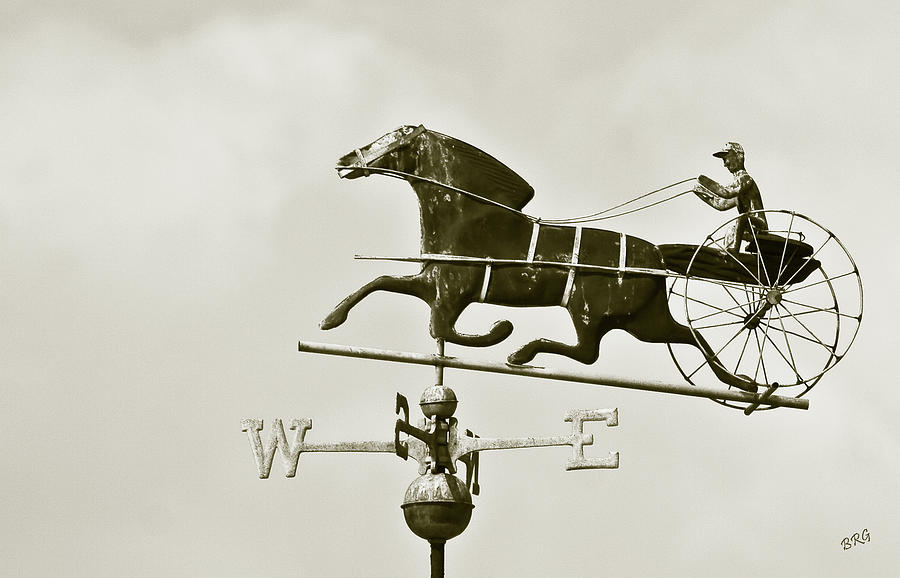 Horse And Buggy Weathervane In Sepia Photograph