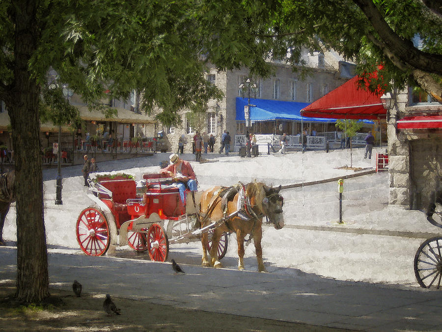 Horse And Carriage Street Scene Montreal Photograph