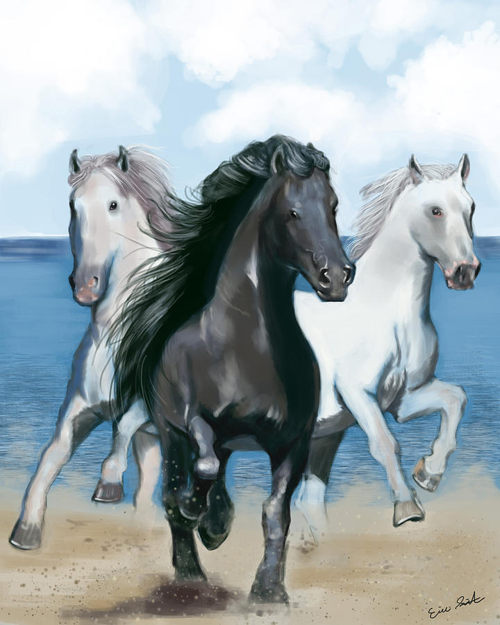 Horse Beach Digital Art  - Horse Beach Fine Art Print