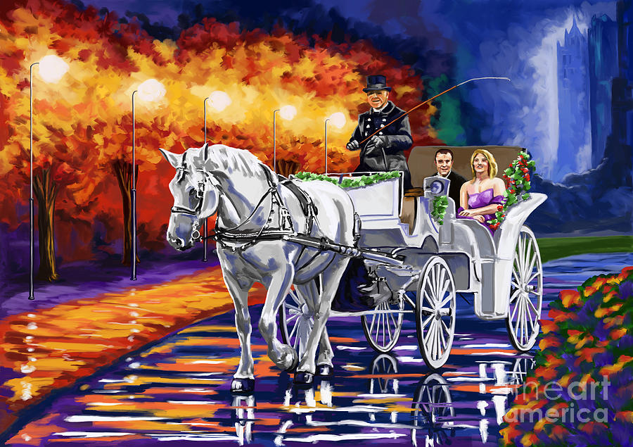 Horse Drawn Carriage Night Painting  - Horse Drawn Carriage Night Fine Art Print