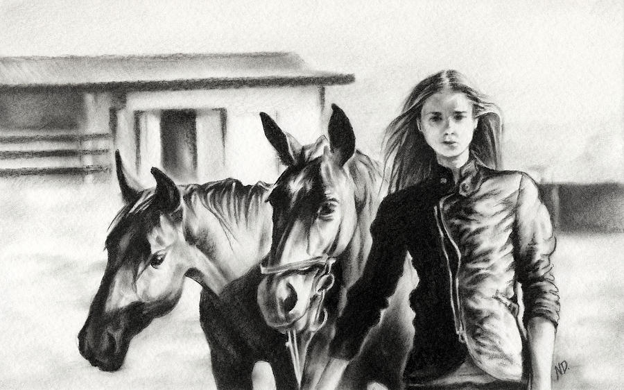 Horse Farm Drawing