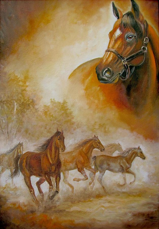 Horse Painting A Dream Of Running Wild by Gina Femrite