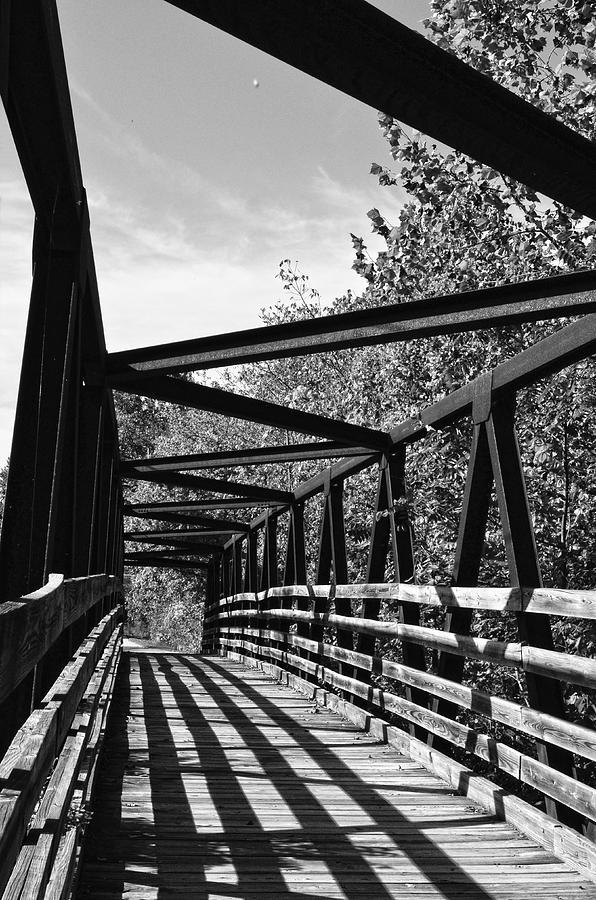 Horse Pen Creek Bridge Black And White Photograph
