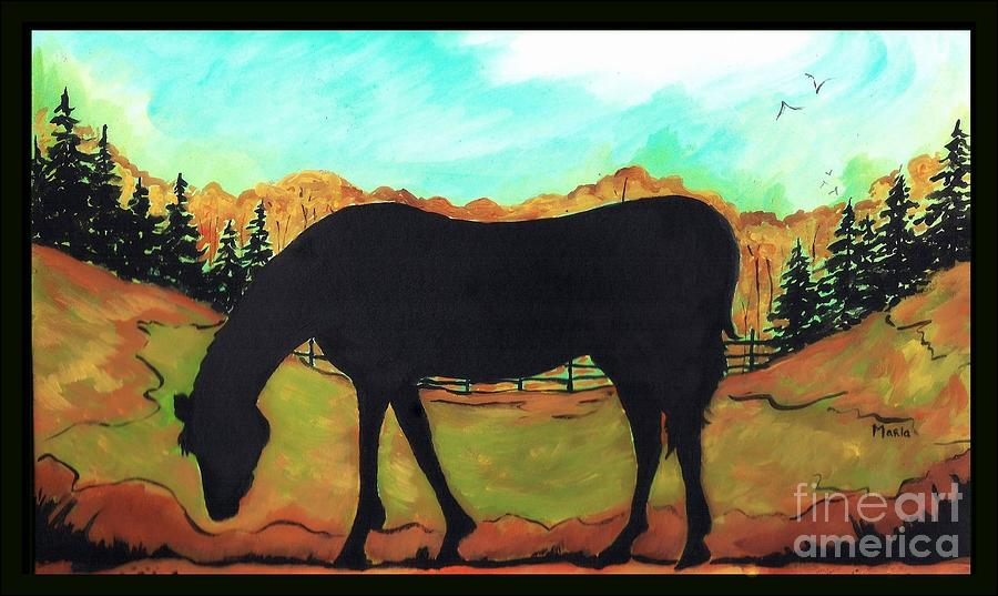 Horse Tail Trail Silhouette Painting