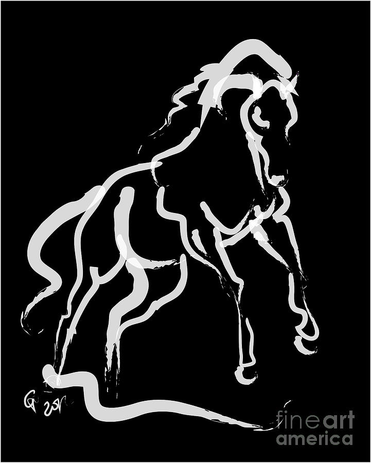 Horse White Runner Painting