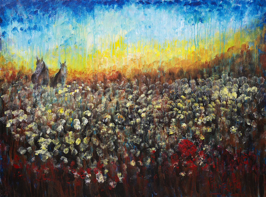 Horses And Dandelions Painting