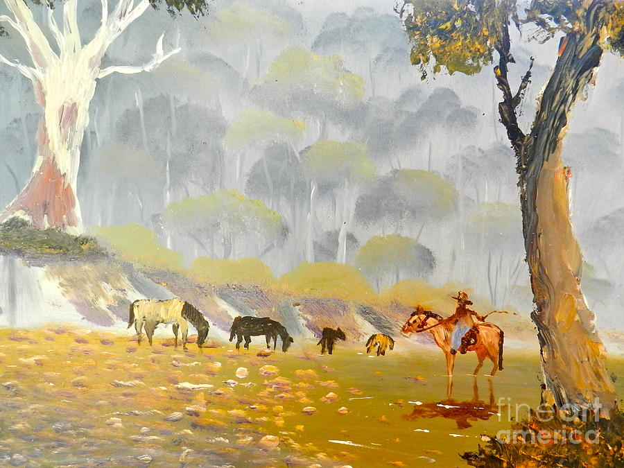 Horses Drinking In The Early Morning Mist Painting  - Horses Drinking In The Early Morning Mist Fine Art Print