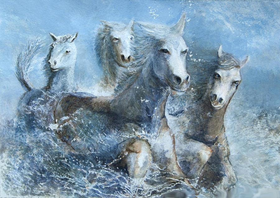 Horses Having Fun Painting  - Horses Having Fun Fine Art Print